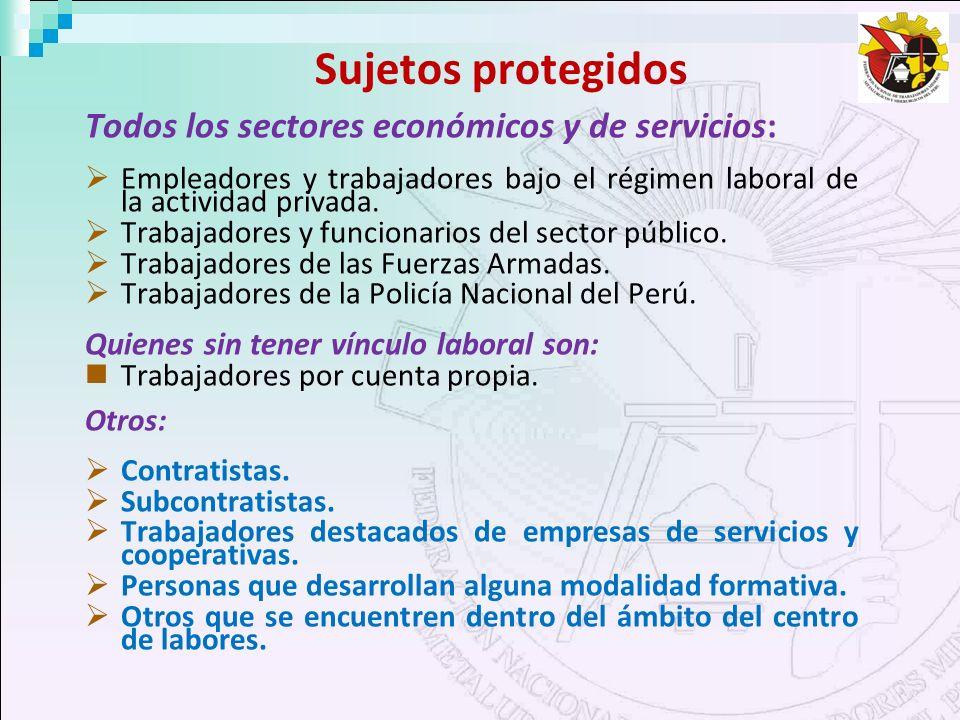 Sujetos protegidos Todos los sectores económicos y de servicios: