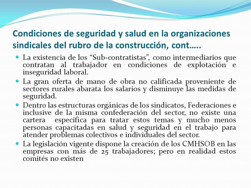 Condiciones de seguridad y salud en la organizaciones sindicales del rubro de la construcción, cont…..