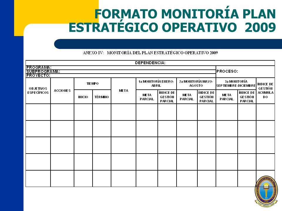 FORMATO MONITORÍA PLAN ESTRATÉGICO OPERATIVO 2009