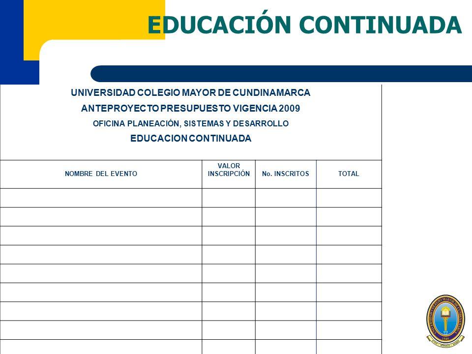 EDUCACIÓN CONTINUADA UNIVERSIDAD COLEGIO MAYOR DE CUNDINAMARCA