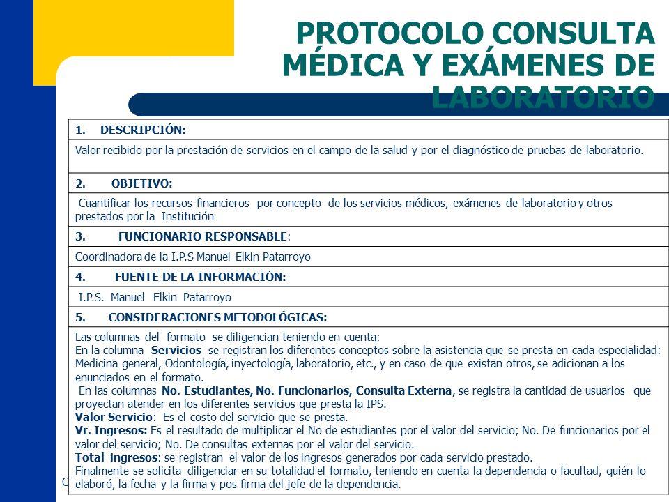 PROTOCOLO CONSULTA MÉDICA Y EXÁMENES DE LABORATORIO