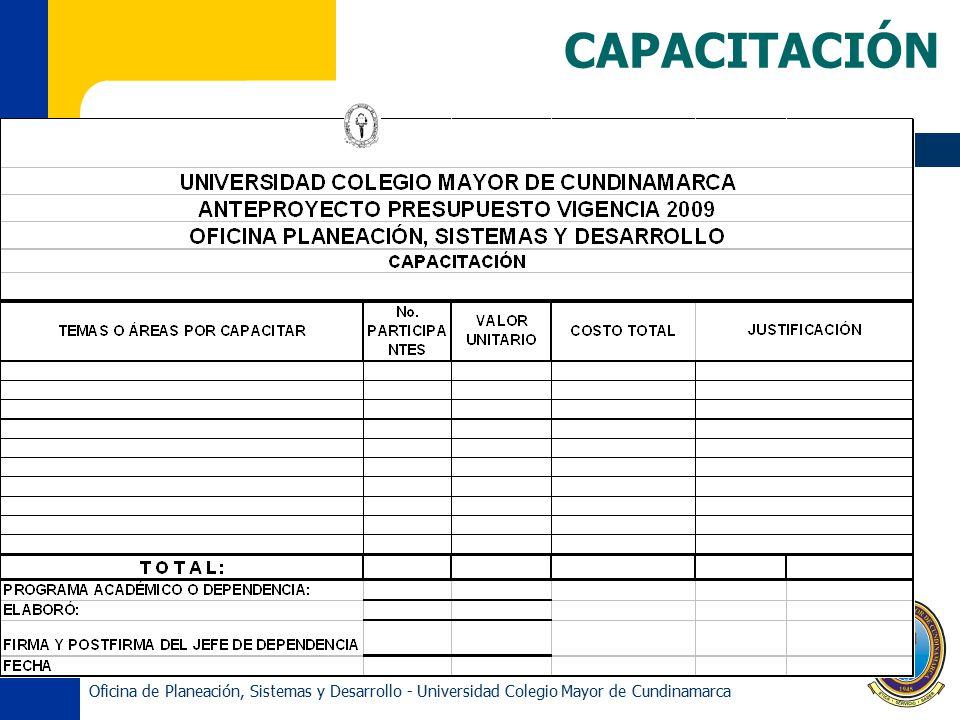 CAPACITACIÓN Oficina de Planeación, Sistemas y Desarrollo - Universidad Colegio Mayor de Cundinamarca.