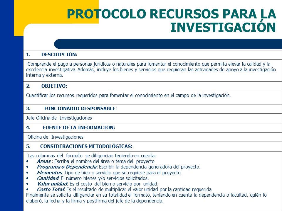 PROTOCOLO RECURSOS PARA LA INVESTIGACIÓN