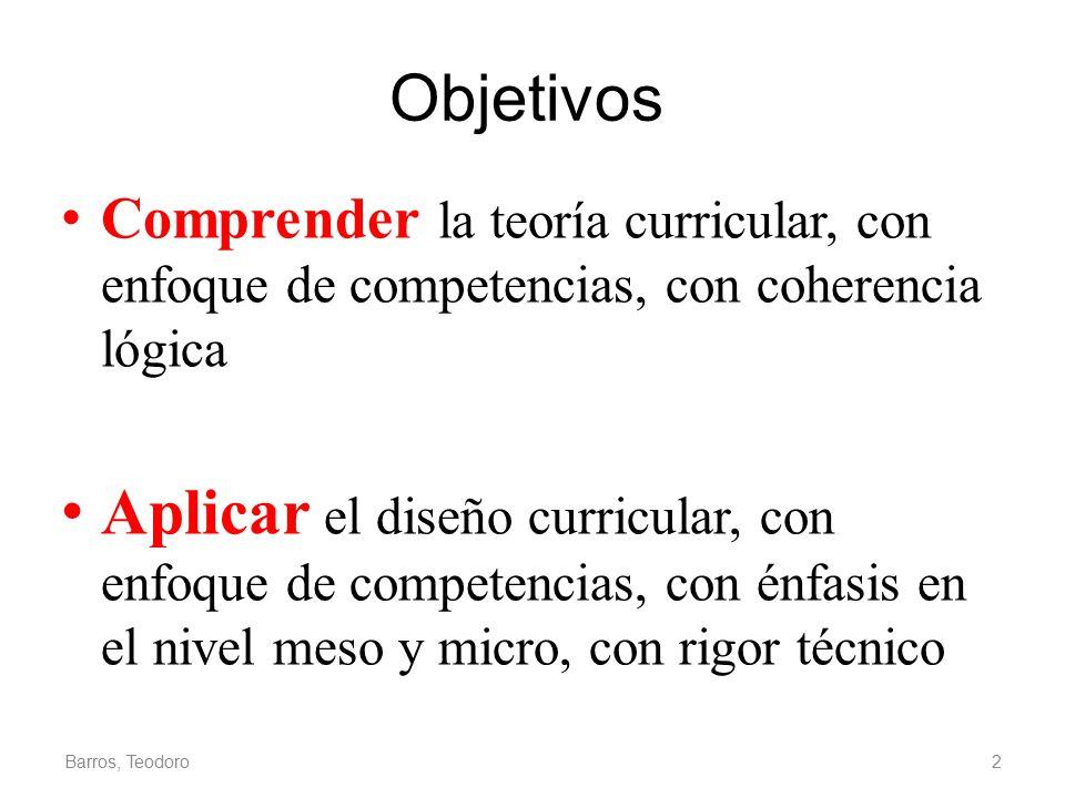 Objetivos Comprender la teoría curricular, con enfoque de competencias, con coherencia lógica.