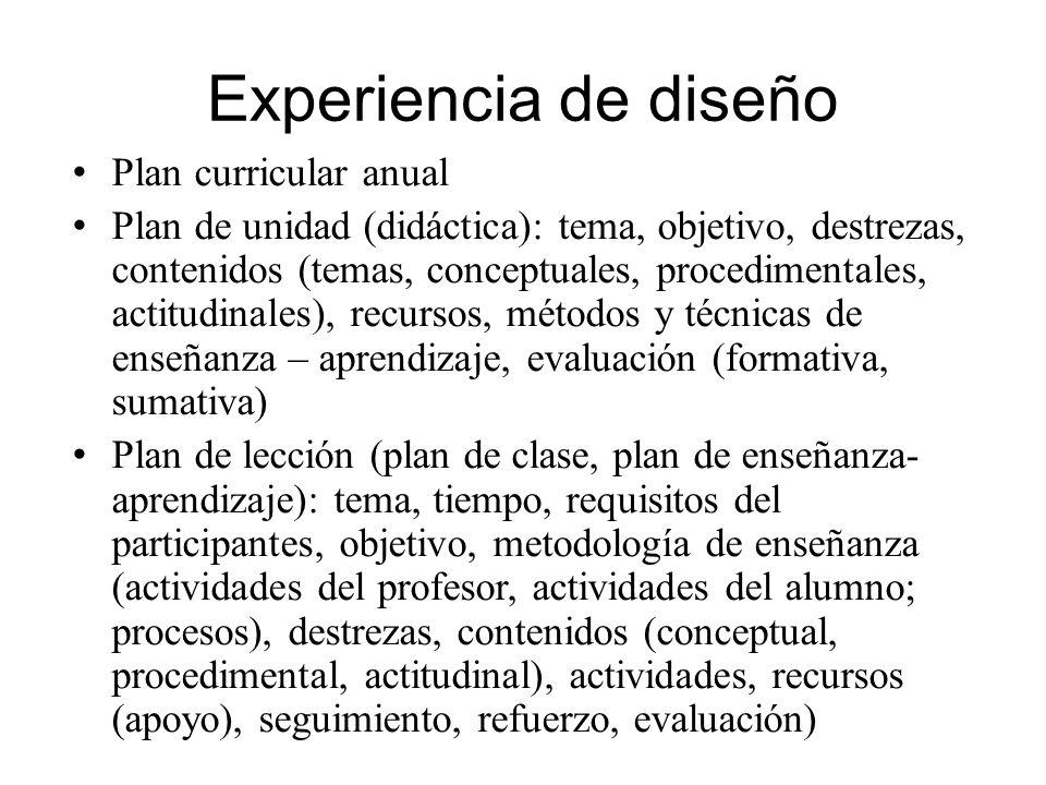 Experiencia de diseño Plan curricular anual