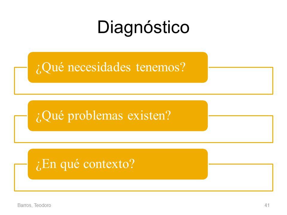 Diagnóstico Barros, Teodoro ¿Qué necesidades tenemos