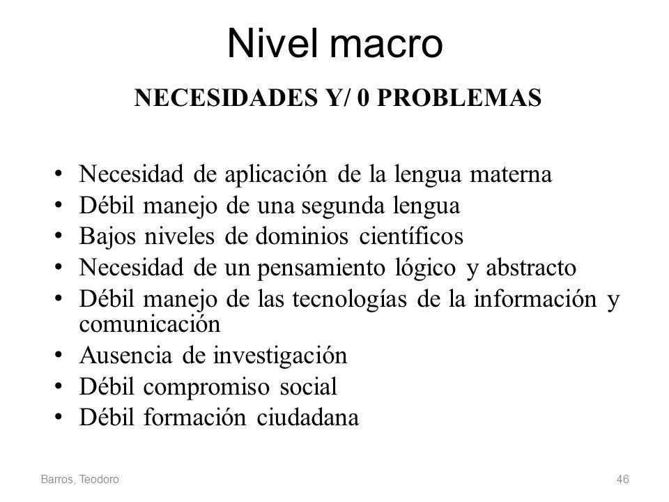 NECESIDADES Y/ 0 PROBLEMAS