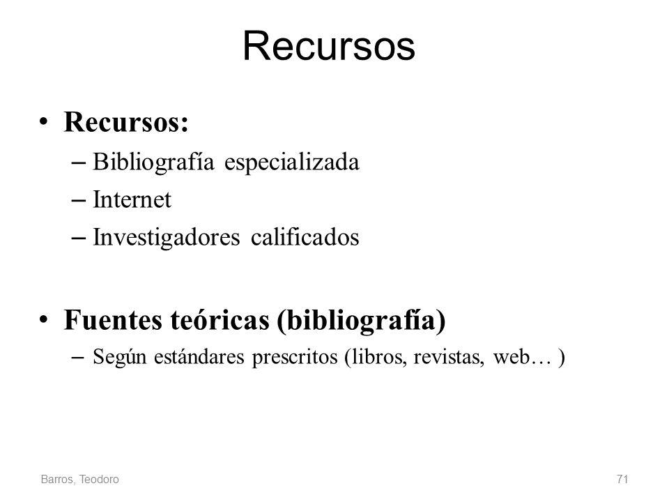 Recursos Recursos: Fuentes teóricas (bibliografía)