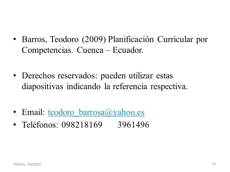 Barros, Teodoro (2009) Planificación Curricular por Competencias