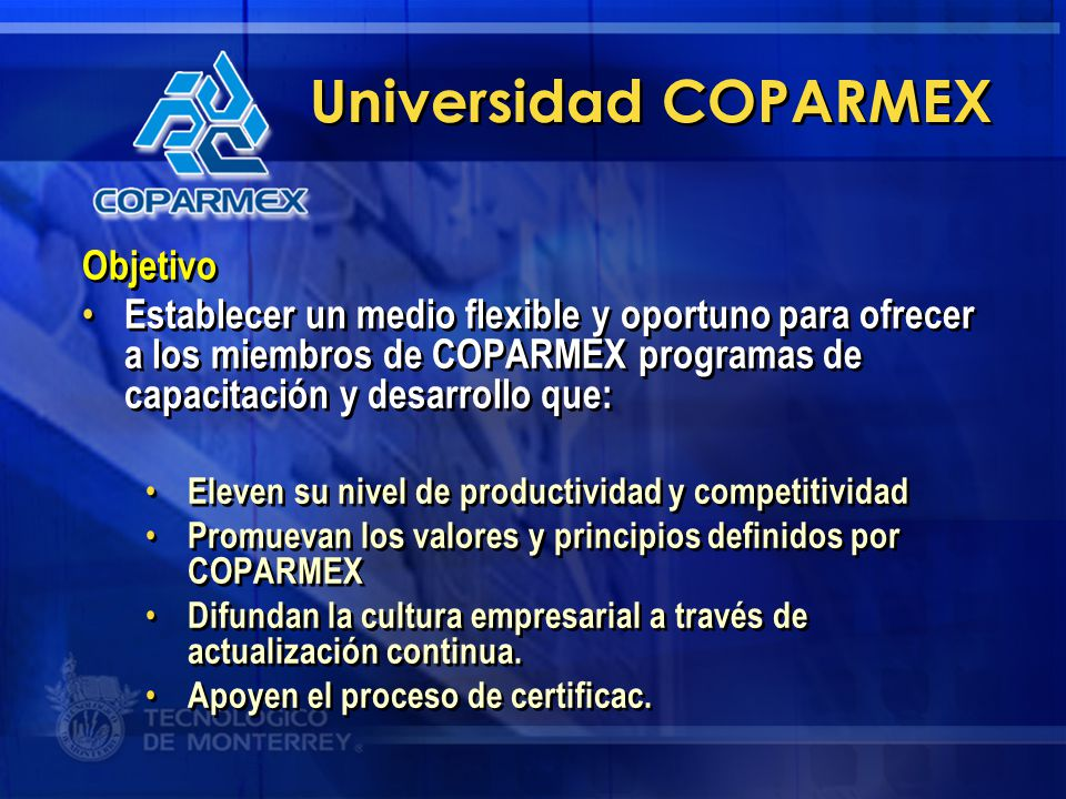 Universidad COPARMEX Objetivo