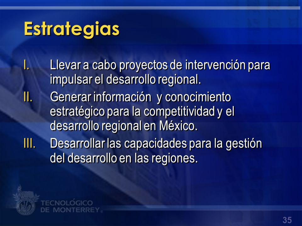 Estrategias Llevar a cabo proyectos de intervención para impulsar el desarrollo regional.
