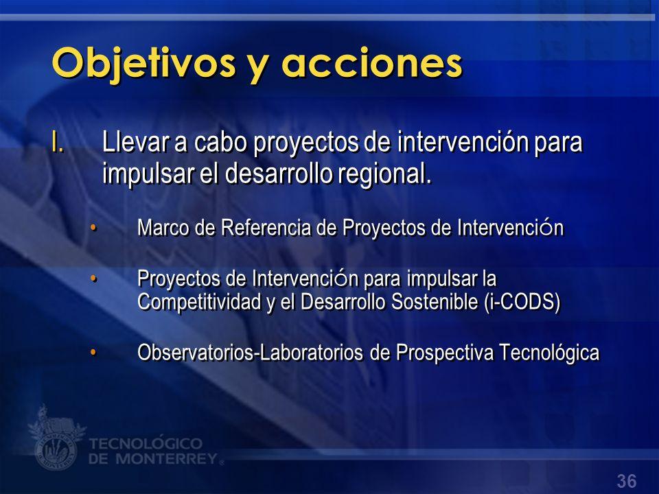 Objetivos y acciones Llevar a cabo proyectos de intervención para impulsar el desarrollo regional. Marco de Referencia de Proyectos de Intervención.