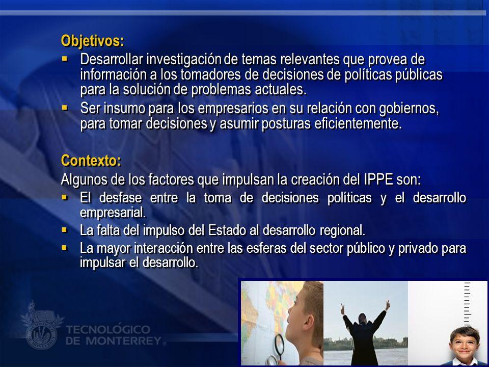 Algunos de los factores que impulsan la creación del IPPE son: