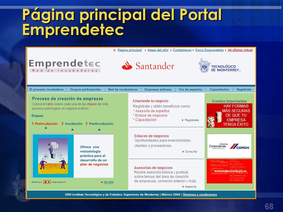 Página principal del Portal Emprendetec