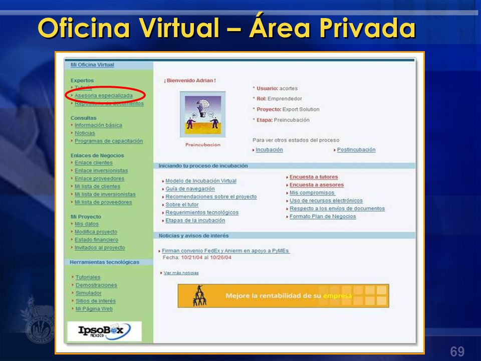 Oficina Virtual – Área Privada