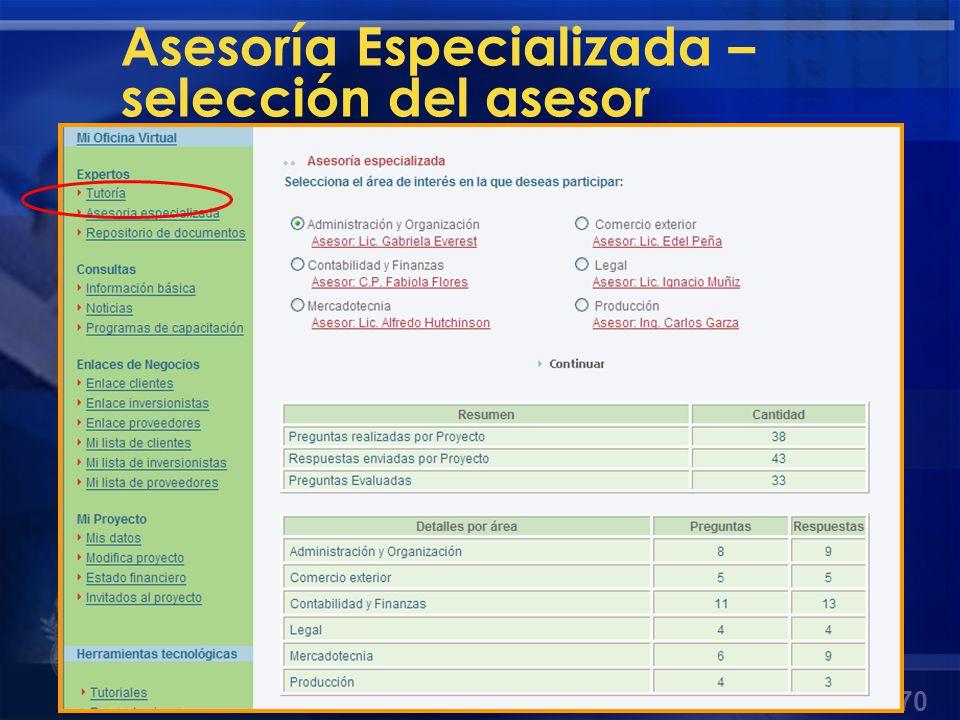 Asesoría Especializada – selección del asesor
