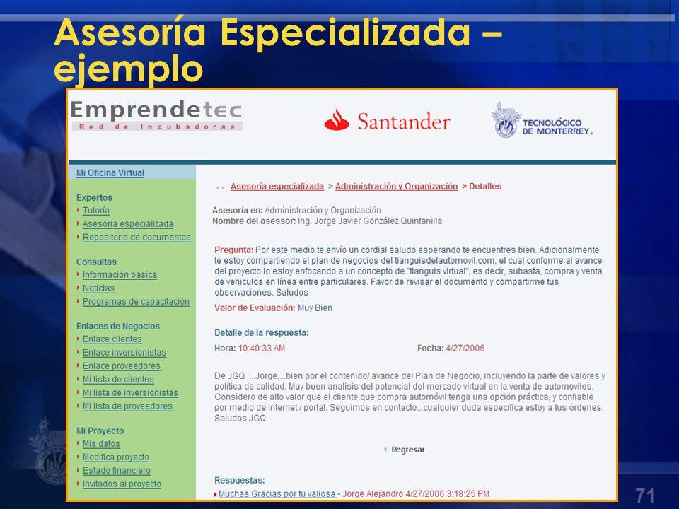 Asesoría Especializada – ejemplo