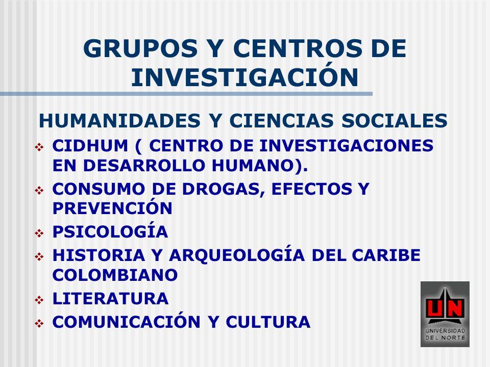 GRUPOS Y CENTROS DE INVESTIGACIÓN HUMANIDADES Y CIENCIAS SOCIALES