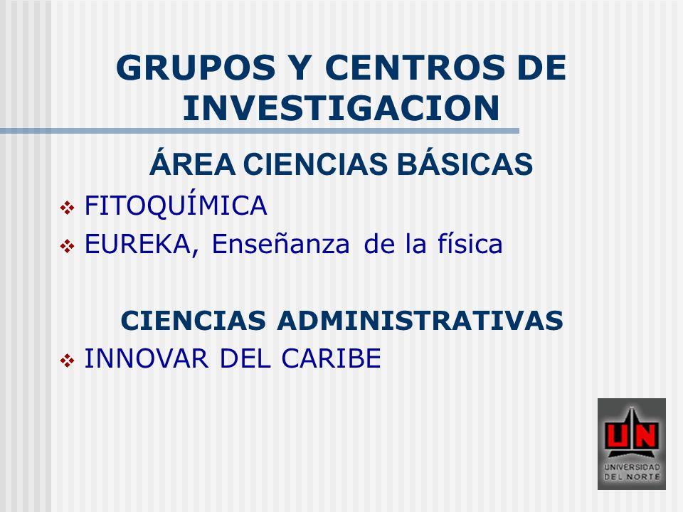 GRUPOS Y CENTROS DE INVESTIGACION CIENCIAS ADMINISTRATIVAS