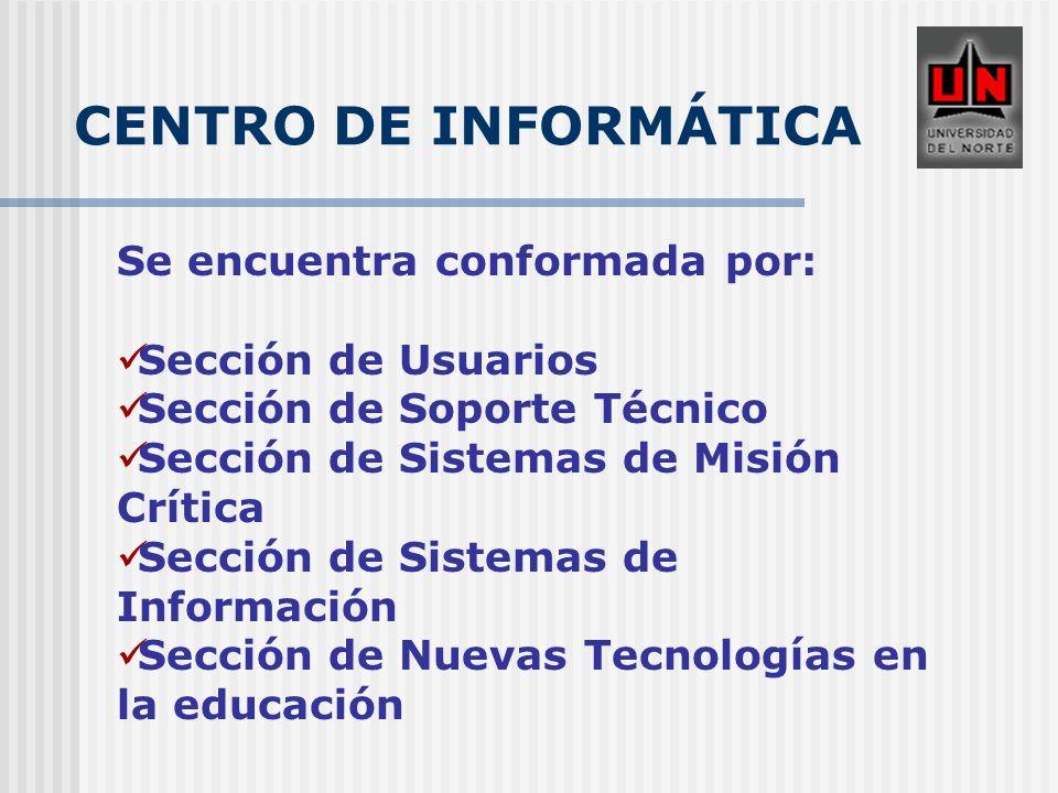 CENTRO DE INFORMÁTICA Se encuentra conformada por: Sección de Usuarios