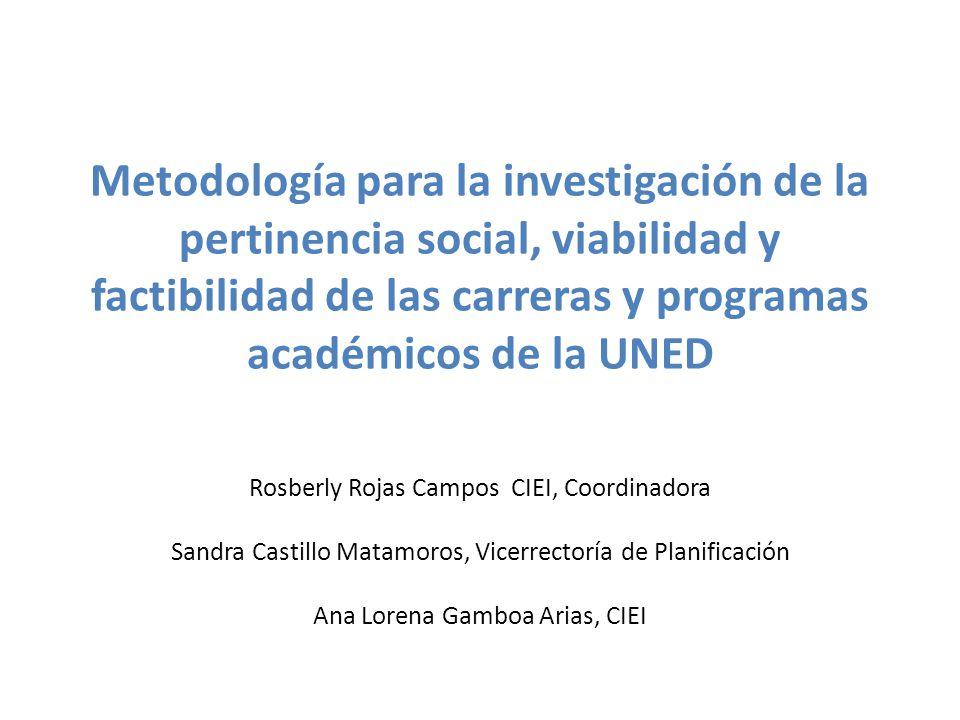 Metodología para la investigación de la pertinencia social, viabilidad y factibilidad de las carreras y programas académicos de la UNED