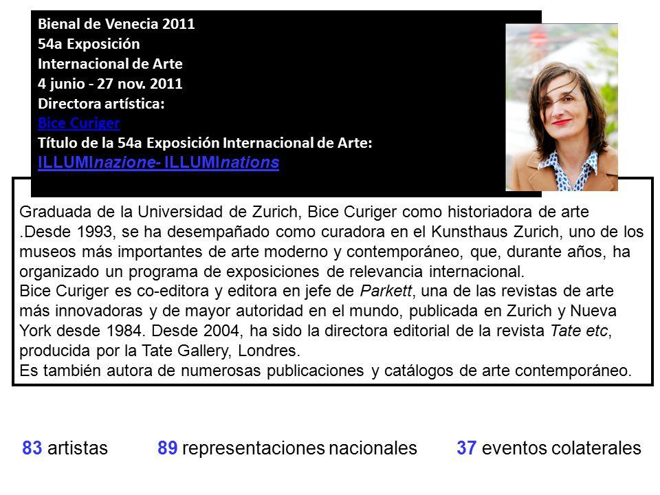 83 artistas 89 representaciones nacionales 37 eventos colaterales