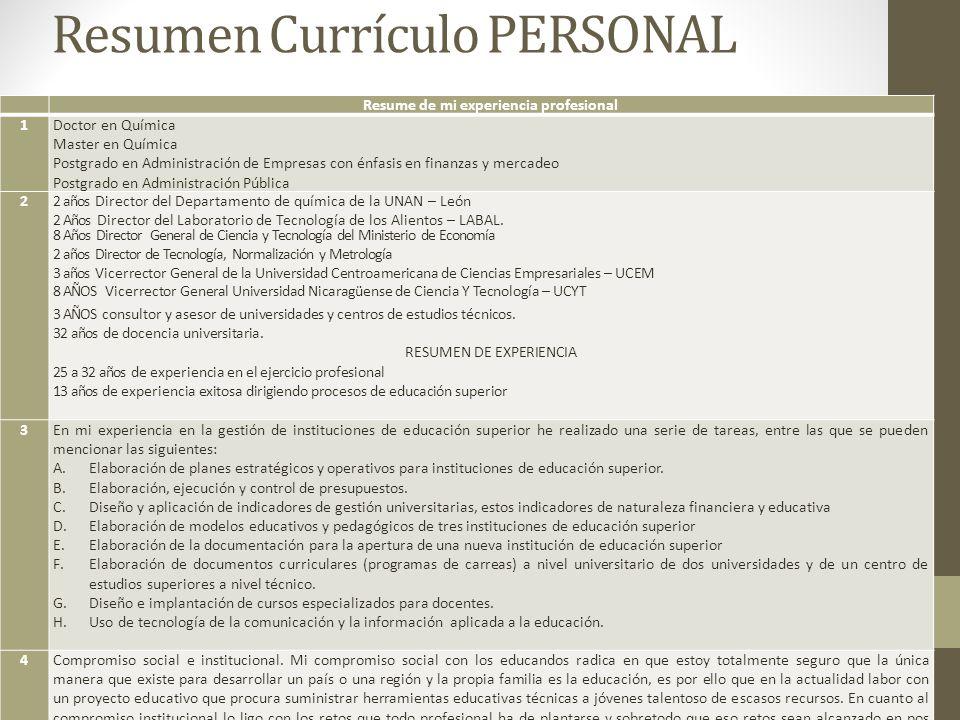 Resumen Currículo PERSONAL