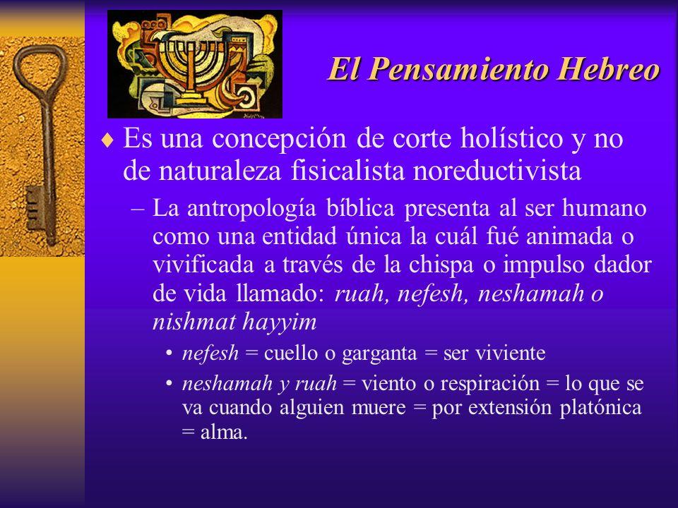 El Pensamiento Hebreo Es una concepción de corte holístico y no de naturaleza fisicalista noreductivista.