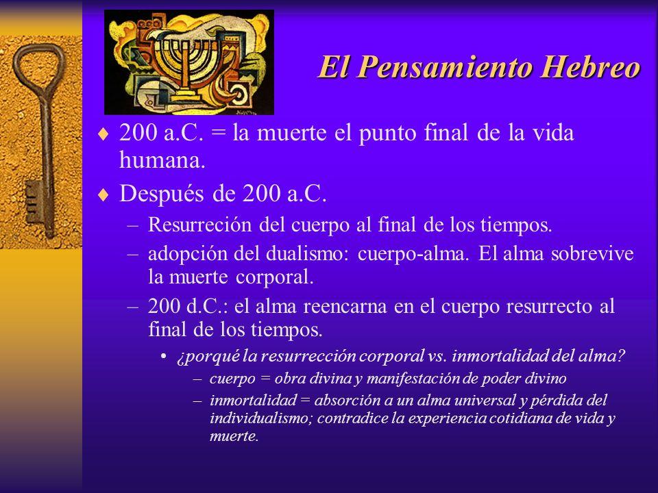 El Pensamiento Hebreo 200 a.C. = la muerte el punto final de la vida humana. Después de 200 a.C. Resurreción del cuerpo al final de los tiempos.