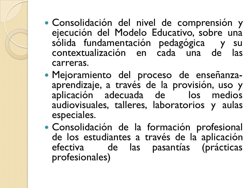 Consolidación del nivel de comprensión y ejecución del Modelo Educativo, sobre una sólida fundamentación pedagógica y su contextualización en cada una de las carreras.