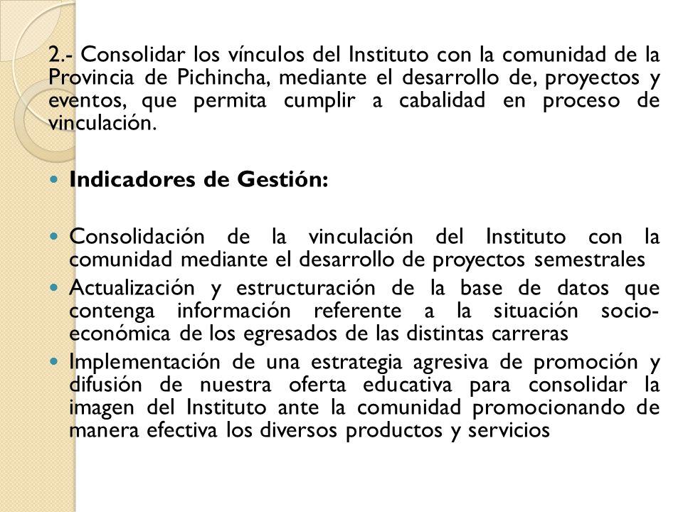 2.- Consolidar los vínculos del Instituto con la comunidad de la Provincia de Pichincha, mediante el desarrollo de, proyectos y eventos, que permita cumplir a cabalidad en proceso de vinculación.