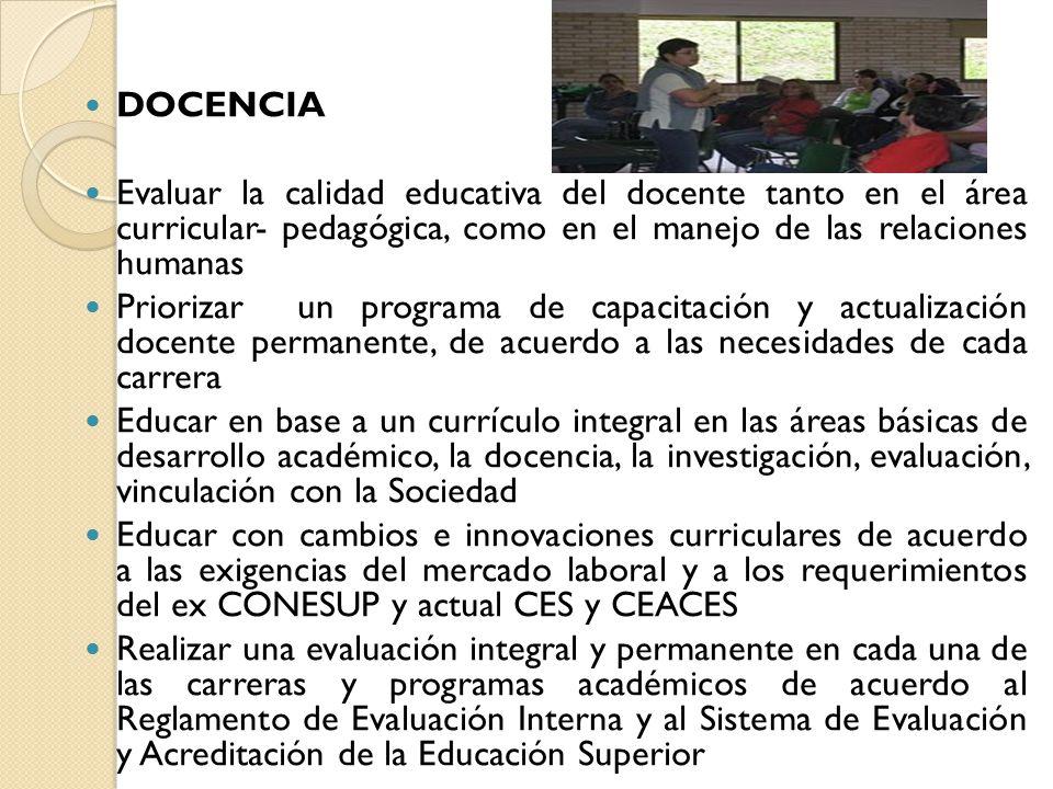 DOCENCIA Evaluar la calidad educativa del docente tanto en el área curricular- pedagógica, como en el manejo de las relaciones humanas.