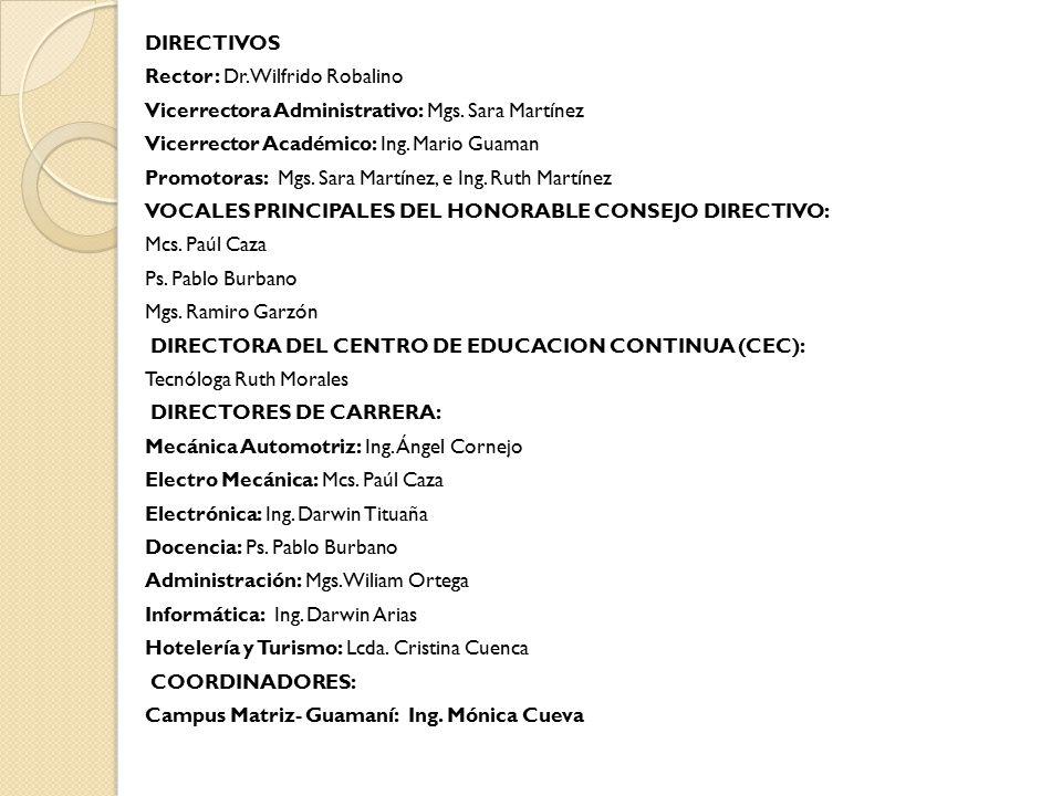 DIRECTIVOS Rector: Dr. Wilfrido Robalino Vicerrectora Administrativo: Mgs.
