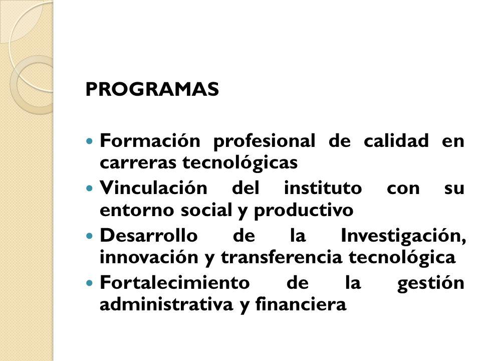 PROGRAMAS Formación profesional de calidad en carreras tecnológicas. Vinculación del instituto con su entorno social y productivo.