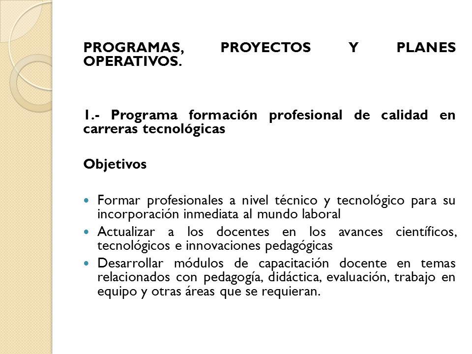 PROGRAMAS, PROYECTOS Y PLANES OPERATIVOS.