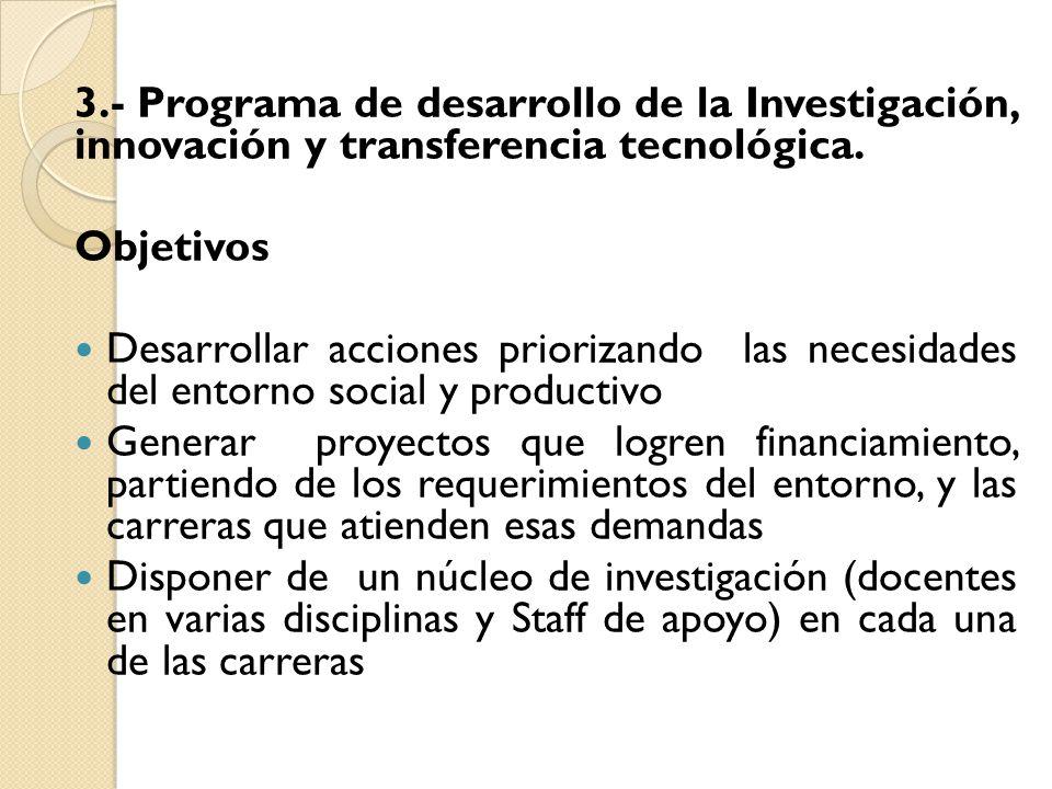 3.- Programa de desarrollo de la Investigación, innovación y transferencia tecnológica.