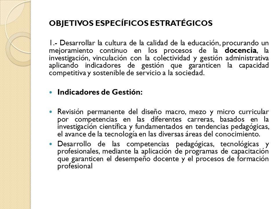 OBJETIVOS ESPECÍFICOS ESTRATÉGICOS