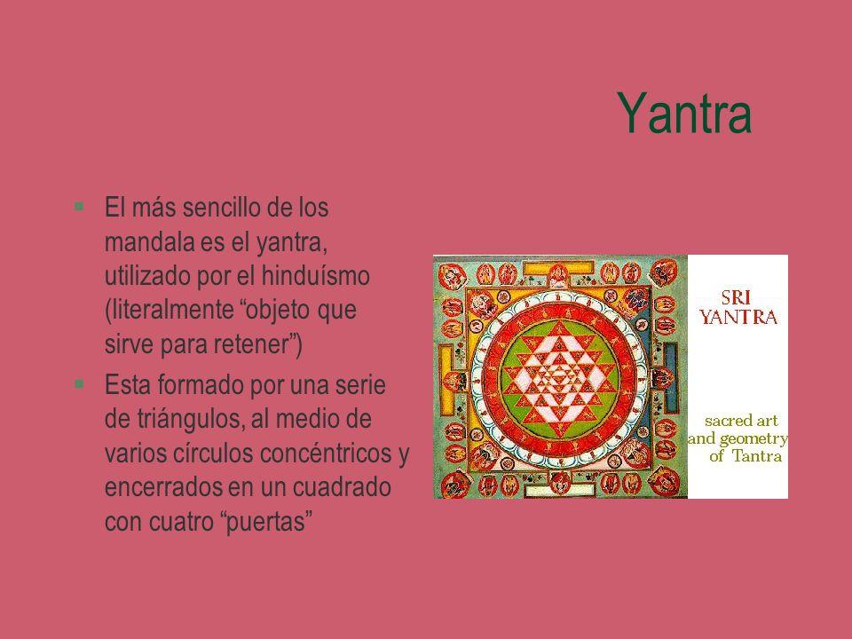 YantraEl más sencillo de los mandala es el yantra, utilizado por el hinduísmo (literalmente objeto que sirve para retener )