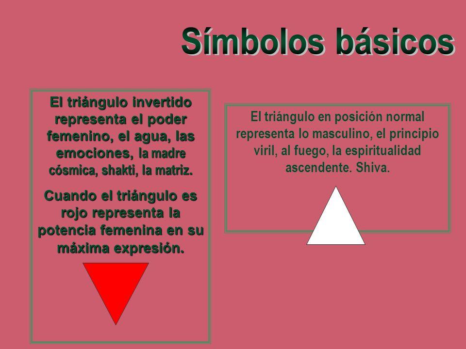 Símbolos básicosEl triángulo invertido representa el poder femenino, el agua, las emociones, la madre cósmica, shakti, la matriz.