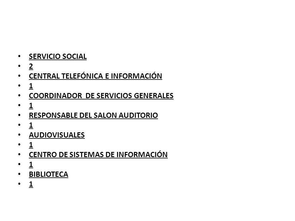 SERVICIO SOCIAL 2. CENTRAL TELEFÓNICA E INFORMACIÓN. 1. COORDINADOR DE SERVICIOS GENERALES. RESPONSABLE DEL SALON AUDITORIO.