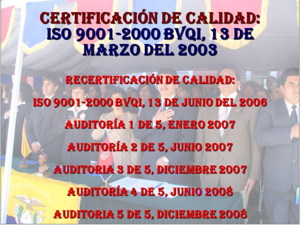 CERTIFICACIÓN DE CALIDAD: ISO 9001-2000 BVQI, 13 de marzo del 2003 RECERTIFICACIÓN DE CALIDAD: ISO 9001-2000 BVQI, 13 de junio del 2006 Auditoría 1 de 5, enero 2007 Auditoría 2 de 5, junio 2007 Auditoria 3 de 5, diciembre 2007 Auditoría 4 de 5, junio 2008 Auditoria 5 de 5, diciembre 2008