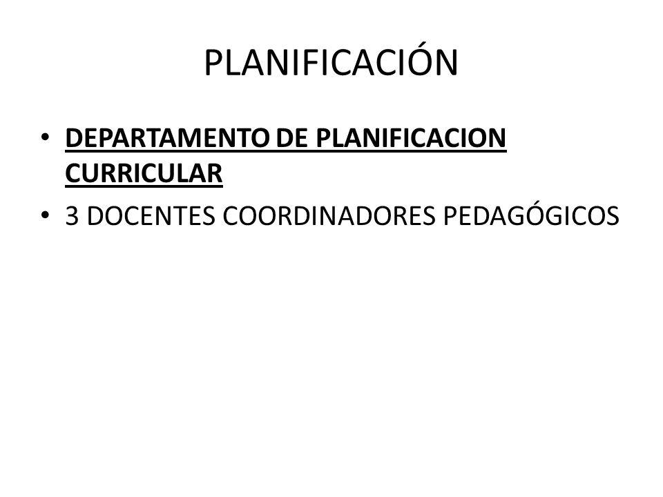 PLANIFICACIÓN DEPARTAMENTO DE PLANIFICACION CURRICULAR