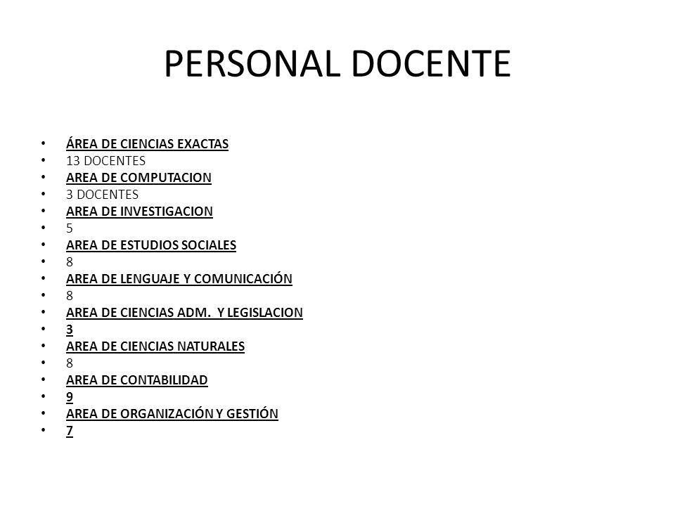 PERSONAL DOCENTE ÁREA DE CIENCIAS EXACTAS 13 DOCENTES