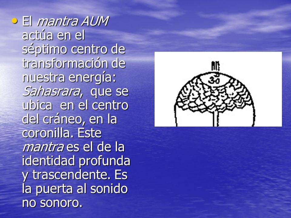 El mantra AUM actúa en el séptimo centro de transformación de nuestra energía: Sahasrara, que se ubica en el centro del cráneo, en la coronilla.