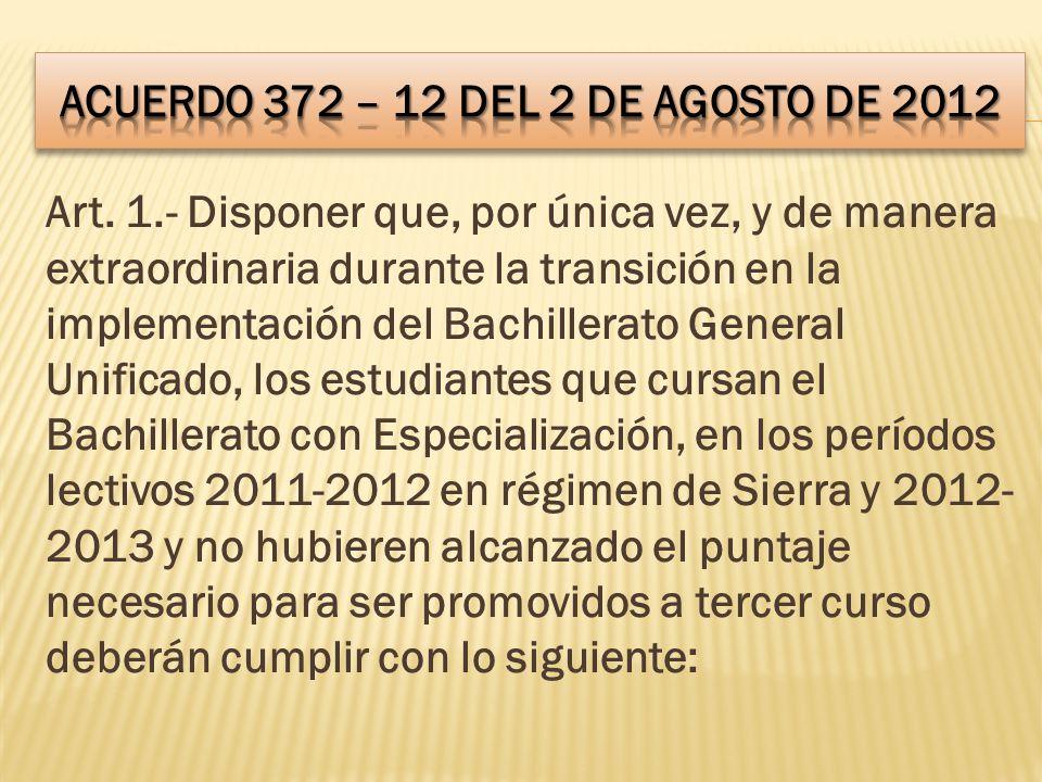 ACUERDO 372 – 12 DEL 2 DE AGOSTO DE 2012