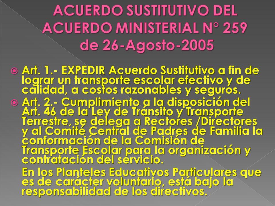 ACUERDO SUSTITUTIVO DEL ACUERDO MINISTERIAL N° 259 de 26-Agosto-2005