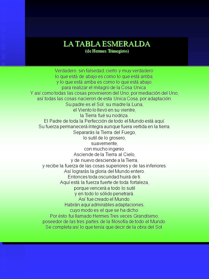 LA TABLA ESMERALDA (de Hermes Trimegisto)