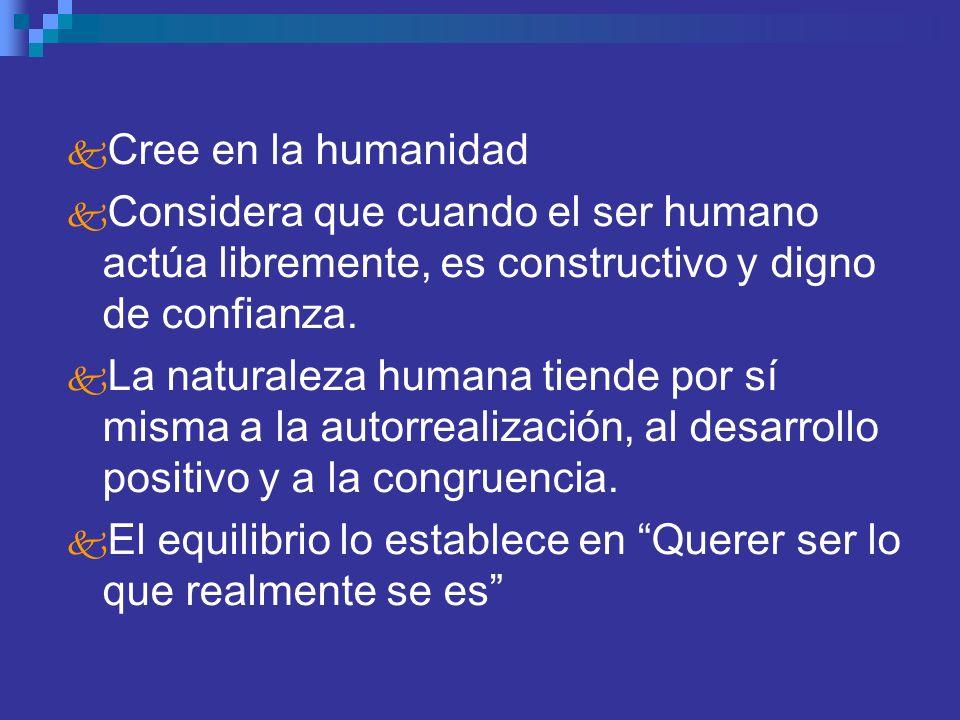 Cree en la humanidad Considera que cuando el ser humano actúa libremente, es constructivo y digno de confianza.