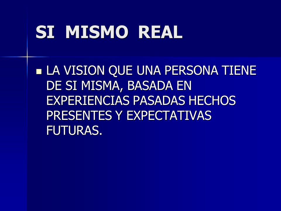 SI MISMO REAL LA VISION QUE UNA PERSONA TIENE DE SI MISMA, BASADA EN EXPERIENCIAS PASADAS HECHOS PRESENTES Y EXPECTATIVAS FUTURAS.