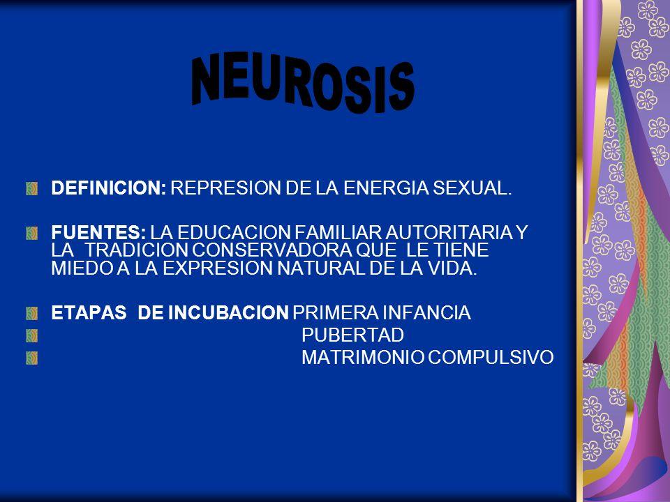 NEUROSIS DEFINICION: REPRESION DE LA ENERGIA SEXUAL.
